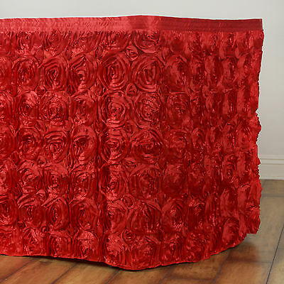 21' Red SATIN ROSES TABLE SKIRT Tradeshow Wedding Party Catering Supplies Dinner