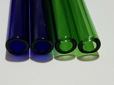 "4 Piece 8"" Pyrex Glass Blowing Tubes 12mm OD Tubing 2mm Thick 2 Blue + 2 Green"