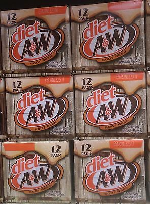 12 Pack Diet A&W Rootbeer Soda 12 oz Aluminum Cans Free Shipping 4.26 L