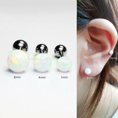 Surgical Steel White Opal Ear Piercing Stud Tragus Helix Cartilage Earring 16G