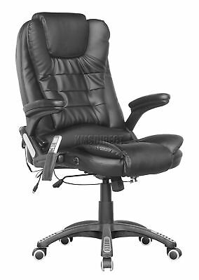 FoxHunter 8025 Leather 6 Point Massage Office Computer Chair Reclining Black