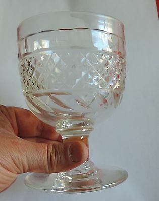Antique 19th c. Anglo Irish Cut Crystal Water Wine Glass Goblet English Rummer