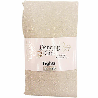 New Childs Childrens Girls Glitter Sparkly Party Silver Tights Age 11 / 14 Years