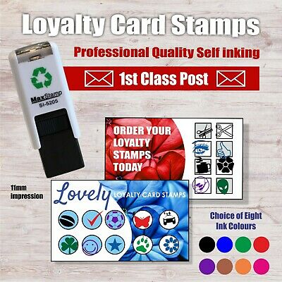 Loyalty Card Rubber Stamp - Wine Glass, Spanner, Pound Sign, Scissors, Pizza etc