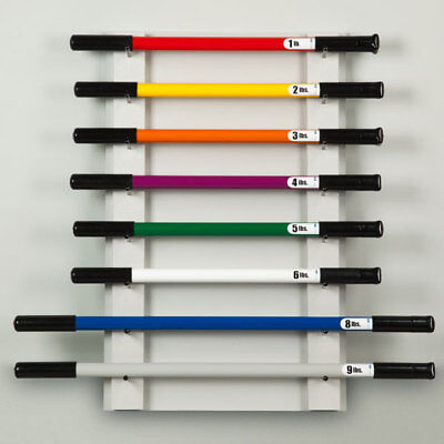 Physical Therapy Weight Bar Rack Wall mount Holds 8