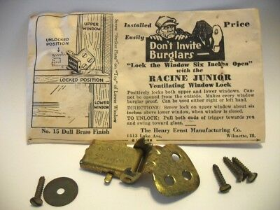 Vtg NOS Dull BRASS Plated Finish Steel Ventilating Window Lock Racine Junior USA