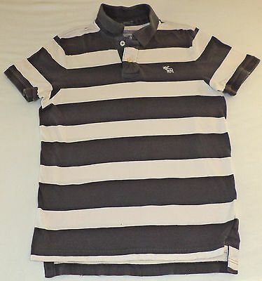 Abercrombie & Fitch S/S Gray & White Stripe Button Top Collared Polo  M   K#9586