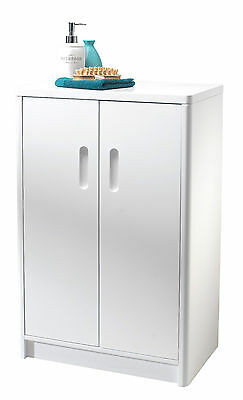 Double Freestanding White Bathroom Floor Cabinet Cupboard Storage Unit Furniture