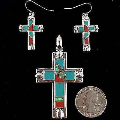 Western Cowgirl Vintage Silver Multicolor Mosaic Cross Pendant with Earrings