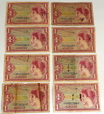 Currency : 9 One Dollar Military Payment Certificates. Series 641 (Ccb)