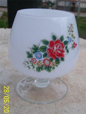 Pretty Vintage Large Opaque Glass Goblet With Floral Pattern