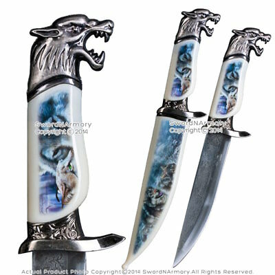 "13.5"" Fantasy Wolf Dagger Bowie Gift Knife with Painted Scabbard Souvenir"