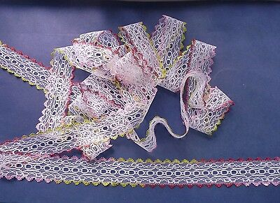 Tri-Coloured Edge Eyelet Knitting Lace  20 m x 35 mm (Various Colours)