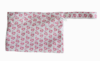 Mini Wet Bag Waterproof Reusable Pink Heart  for Mama Cloth Menstrual Pad Tampon