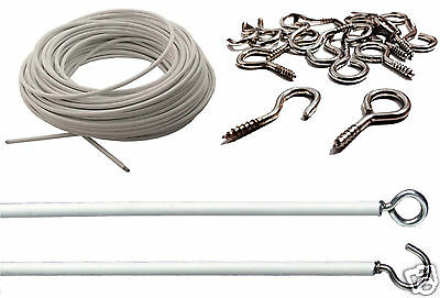 Net Curtain Wire White Window Cord Cable With Free Hooks & Eyes 3 Metre Bathroom