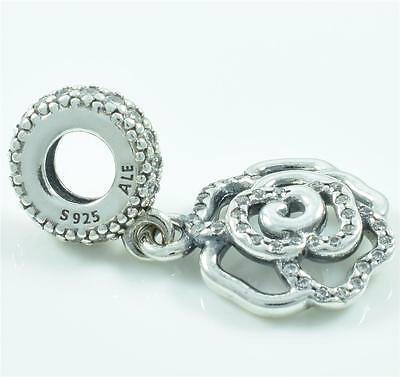 Authentic Genuine Pandora Sterling Silver Shimmering Rose Dangle Charm 791526CZ