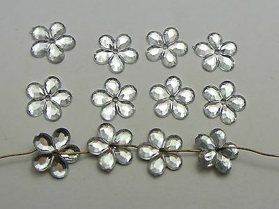 200 Clear Acrylic Flatback Flower Sewing Rhinestone 12mm Sew on Bead Center Hole