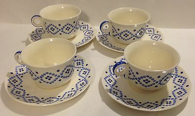 Set Of 4 Pope-Gosser Candlewick Blue Cups And Saucers