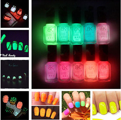 7ML Nail Polish Varnish Fluorescent Nail Art Glow In Dark Neon Candy Colors