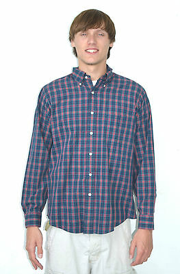 Vintage 70's Men's Blazer Plaid Gant Shirtmakers Shirt - Size Large 16 1/2