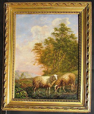 Antique 19th C. Continental School Painting Landscape with Sheep at Pasture