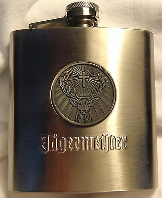 Jagermeister Stainless Steel Flask....Shiny....6 oz. - Deer Head Logo....NEW