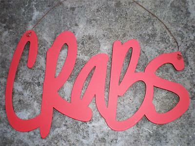 CRABS Red Metal Sign Nautical Seaside Beach House Crab Restaurant Home Decor