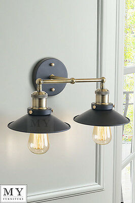 Vintage Industrial Loft Metal Double Sconce Wall Light wall Lamp - Regis Black