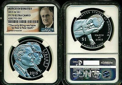 2015 W $1 90% Silver Roosevelt Dollar Ngc Pf70 Uc From March Of Dimes Set