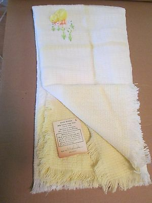 Vintage Yellow Three Weavers Woven Acrylic Blanket Chick Flower Embroidered VGUC