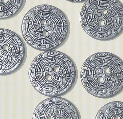 DRAGON stylized picture Design Set 12 Vintage New PEWTER metal buttons