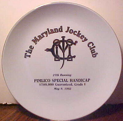 "New, Vintage ""the Maryland Jockey Club"" Pimlico Special Handicap 5-9-1992 Plate"