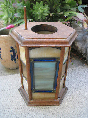 "Vintage 10 1/2"" Oak Wood & Stained Yellow, Blue & Slag Glass Candle Holder, Fine"