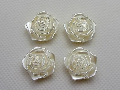 25 Ivory Acrylic Pearl FlatBack Rose Flower 18mm Scrapbook Craft
