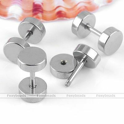 10pcs Silvery Stainless Steel Earrings Ear Stud Barbell Round Coins Unisex
