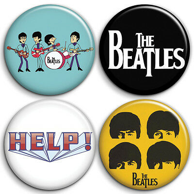 The Beatles Logo 4 x Button Badge / Pinback - 25mm 1 inch - Parody Style