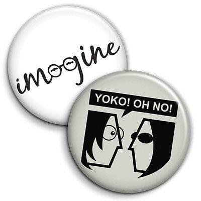 John Lennon 2 x Button Badge / Pinback - 25mm 1 inch - Parody Style
