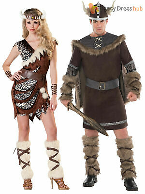 Deluxe Barbarian Viking Costume + Hat Mens Warrior Fancy Dress Adult Outfit