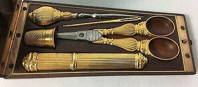 18K Gold Antique French Travelers Sewing Kit in Fitted Case