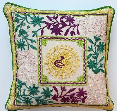 Indian Handmade Home Decor Floor Suzani Hand Embroidery Cushion Cover 45x45cms