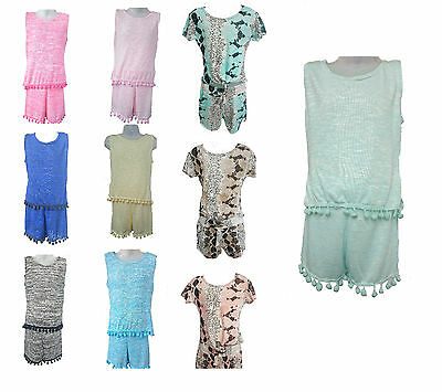 Girls Top And Shorts Set With Pom Pom Kids Summer 4 5 6 7 8 9 10 11 12 13 yrs