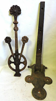 "Huge 52"" Antique Industrial Door Cast Iron Hardware Hinge Bracket Flower Ornate"