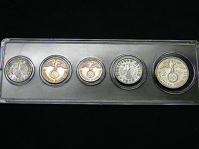WWII Nazi Germany Third Reich Coins Set Incl. Silver All with Swastika + Holder
