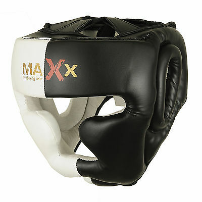 Maxx ADJUSTABLE LEATHER Boxing Head Guard Face Halmet UFC Protection HEADGEAR