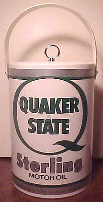 Rare Vintage Clean Quaker State Motor Oil Can Insulated Heavy Plastic Ice Bucket