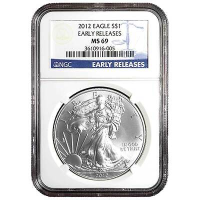 2012 $1 American Silver Eagle NGC MS69 Early Releases Blue ER Label