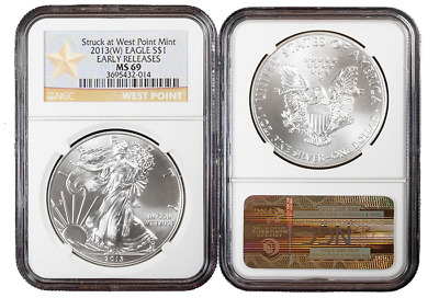 2013 W $1 American Silver Eagle NGC MS69 Early Releases West Point Star Label