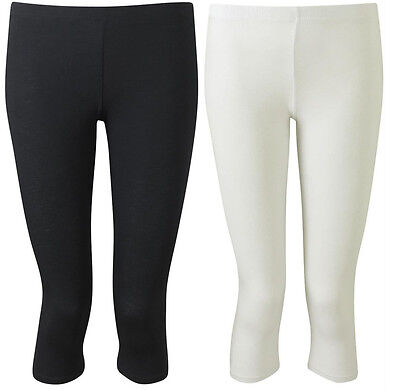 Womens Ladies New 3/4 Cropped Knee Length Black & White Stretchy Leggings 8-14