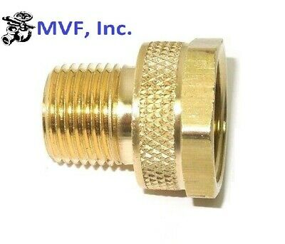 "GARDEN HOSE FITTING 3/4"" FEMALE GHT x 1/2"" MALE NPT PIPE BRASS HEX BODY<82GH12-8"
