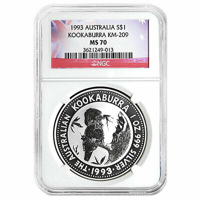1993 $1 Silver Australia Kookaburra 1 oz NGC MS70 Flag Label